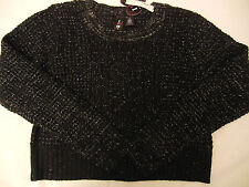 NEW Boy Meets Girl Black Cropped Pullover Knit Sweater Girl Juniors L Large $38.