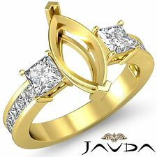 3 Stone Diamond Wedding Ring 18k Yellow Gold Princess Marquise Semi Mount 1.1Ct