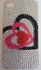 Diamonte Red/Pink Love Heart Design Sticker for Apple iPhone 4/4G/4S Phone Decal