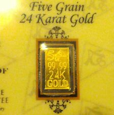 ACB GOLD 5GRAIN 24K SOLID GOLD BULLION MINTED BAR 99.99 FINE With COA. +