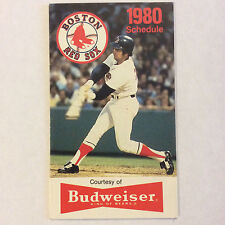 1980 Boston Red Sox Baseball Pocket Schedule Original Budweiser