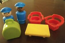Vintage Fisher Price Little People Airport Luggage 2 Pilots Coffee Table 2 Chair