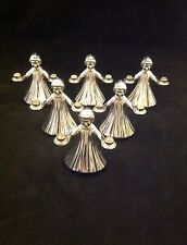 Set Of 6 Wm A Rogers Silver Plate Angel Lights X-Mas Lights Candle Holder Italy