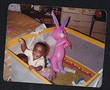 Vintage Photograph Cute African American Babies in Playpen Blow Up Bunny Rabbit