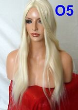 PALE BLONDE Long Wavy Straight FULL LADIES fancy dress halloween HAIR WIG #613L