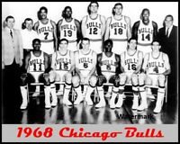 1968 NBA Chicago Bulls Team Picture Black & White 8 X 10 Photo Picture