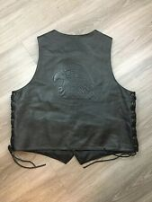 Wilsons Leather 2XL Mens Black Leather Eagle Tooled Back Fringed Motorcycle Vest