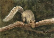 Kmcoriginals Print Squirrel on branch gray rodent wildlife Reproduction Aceo art