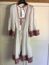 NEW!! French Connection Smock Ethnic Embroidered White Cotton Dress Size 10 12