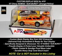 "Custom Display Case : AFX  '57 Chevy NOMAD ""SUNBURST"" (Orange & Yellow)"