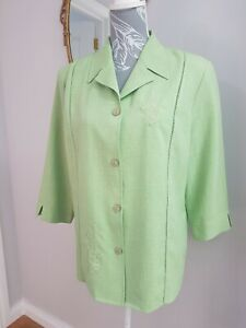Vintage 90s Oscar B Blouse Shirt green Size 16 Embroidered 3/4 Sleeve