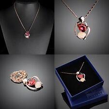 Herz Anhänger Partner Halskette Original Design Vergoldet Swarovski Element R49