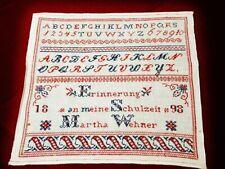 """RARITÄT """" ABC - Alphabet Sticktuch, Hand bestickt, von 1898"""