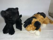 2 nice vtg Ty Large Stuffed Cats Calico Mama and Black Kitten Tags (no ear tags)