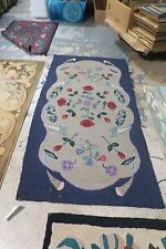 Antique American Primitive Hand Made Wool on Burlap Hooked Rug 3' x 5'9 Art Deco