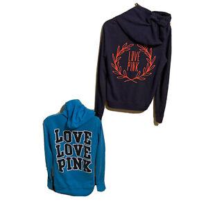 Victoria Secret PINK Jacket full Zipper Hoodie LOGOS size JR XS A lot of 2