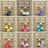 JW_ Fashion Rose Flower Keyring Car Key Chain Women Handbag Key Holder Ring Co