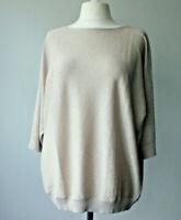 Pale Gold Viscose with Metallic Lurex Dolman Sleeve Fine Knit Tunic Plus size 22