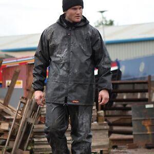 Scruffs Rain Jacket and Waterproof Trousers Black or HI VIS 2 Piece Rain Suit