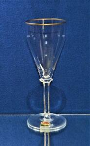 "NIB MOSER Crystal Clear Knob 6-Sided Stem Gold ELEGANCE 7 7/8""h Set 2 Wine Glass"