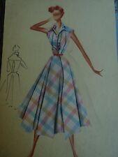 Dessin de mode ancien haute couture italienne  affiche de mode années 60
