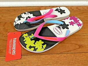 NWT HAVAIANAS Womens Floral Flip Flops Slides Rubber Sz 11/12 Style 4137258