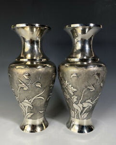 Antique Chinese Sterling Silver Vases Pair With Birds Flowers Butterfly 583 Gram