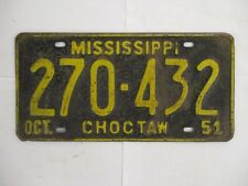 1951 Mississippi CHOCTAW  License Plate Tag