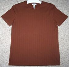 Medium Van Heusen Brown Cotton Crewneck Ribbed Tee T-Shirt Solid Women's Woman's