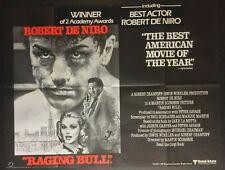 RAGING BULL - Original Cinema UK Quad Movie POSTER 1980 + Add-on Awards Stickers