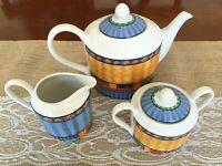 Johnson Brothers Old Caribbean Tea Pot with Sugar and Creamer Set 1996 Retro