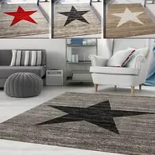Alfombra Habitación Juvenil Moderno Patrón Estrella Rojo-,Beige- o Negro-Gris