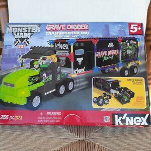 New K'nex Monster Jam Grave Digger Racing Transporter Truck Rig Building Set