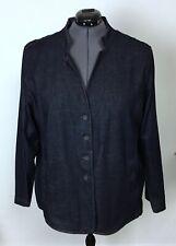 Eileen Fisher 3X / 24W Dark Navy Blue Denim Button Jacket POCKETS Plus Size