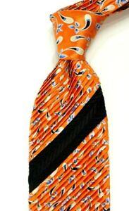 $300 ITALO FERRETTI Pleated Satin Orange w/ Purple Paisley Silk Neck Tie NWT