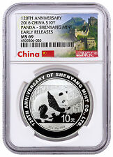 2016 China 10Y 30g Silver Panda 120th Anv of Shenyang Mint NGC MS69 ER SKU42775