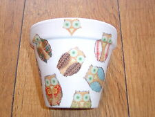 Hand Painted + Decoupaged Flower Pots 11 cm ( Terracotta ) Funky Owls 1