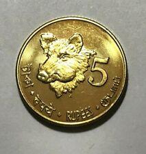 2011 Andaman Nicobar, 5 rupees, Indian Wild Boar, Pig, wildlife animal