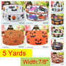 "7/8"" 5 Yards Halloween Grosgrain Ribbon Craft Party Decor Spider Cobwed Pumpkin"
