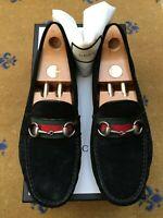 Gucci Mens Shoes Black Suede Horsebit Loafers Drivers UK 11 US 12 EU 45 Web Red