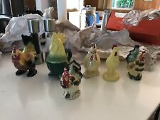 ceramic roosters chickens figurines Collectibles,