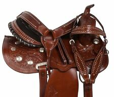 WESTERN PLEASURE TRAIL ARABIAN BARS HORSE SHOW LEATHER SADDLE TACK SET 15