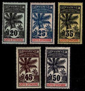 COTE D'IVOIRE : PALMIERS n°26 à 31, Neufs * = Cote 89 € / Lot Timbres COLONIES