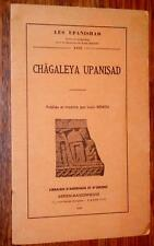 Louis Renou CHAGALEYA UPANISAD 1959 Upanishad Inde Hindouisme Sanskrit sanscrit