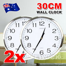 2X Silent Round Wall Mountable Quartz Analogue Clock 30cm Home Office Decor