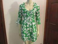 Green Clover Print Bell Sleeve Tunic Cover-Up by Mud Pie, Size Small, NWT