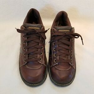 Sketchers Men's Brown Leather Lace Up Oxford Sneakers US 10