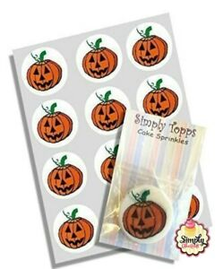 Cupcake Toppers Halloween Pumpkin Pre-cut Wafer Edible Decoration 40mm x 12