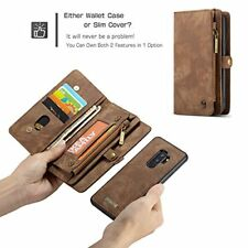 Samsung Galaxy S9 Plus Wallet Case Leather Folio Magnetic Detachable Cover Brown