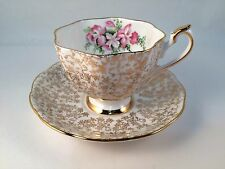 Fine Bone China Tea Cup Saucer Gold Filigree Chintz Pattern and Floral #5716 VTG